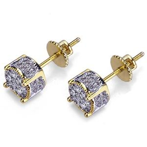 14kgf YELLOW AND WHITE GOLD DIAMOND EARRINGS